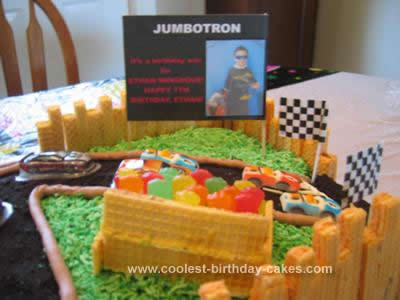 Homemade Race Track Cake with a 7