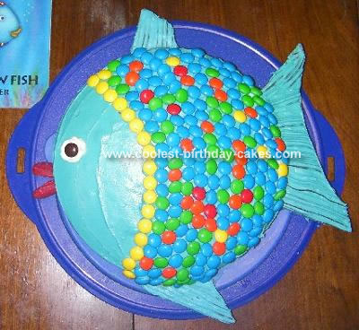 Rainbow Fish on Rainbow Fish Cake