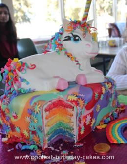 Homemade Rainbow Unicorn Cake