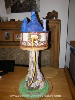 Homemade Rapunzel Tower Birthday Cake