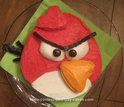 Homemade Red Angry Bird Cake