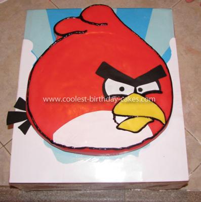 Homemade Red Angry Bird Cake