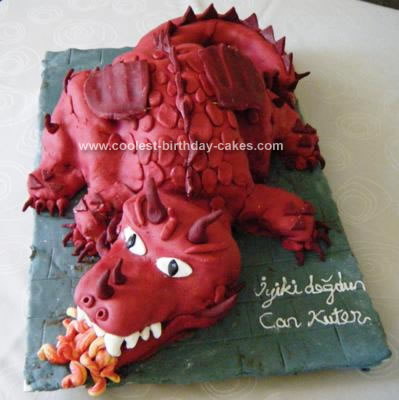 Homemade Red Dragon 5th Birthday Cake
