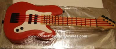Homemade Red Guitar Cake