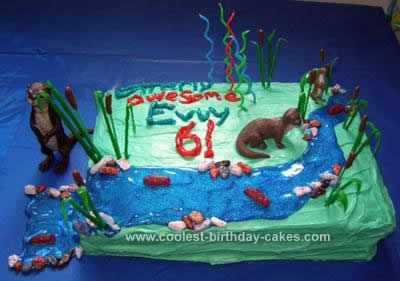 Homemade River Otter Birthday Cake