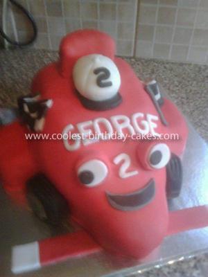 Homemade Roary the Racing Car Cake