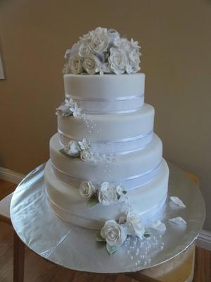 Coolest Rose and Stephanotis Tiered Wedding or Anniversary Cake