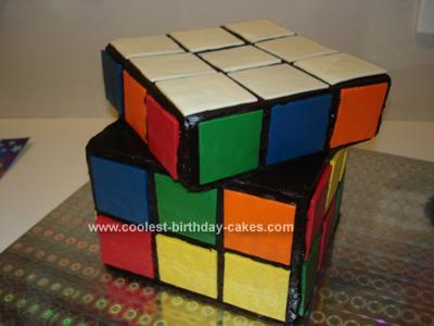 Homemade Rubik's Cube Cake