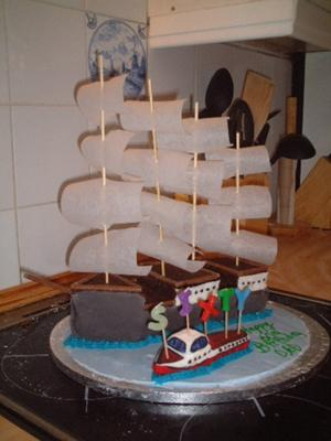 Homemade Ship and Boat Cake