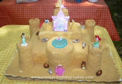 Homemade Sand Castle Birthday Cake