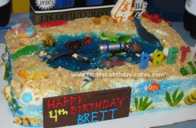 Homemade Sea Life Theme Birthday Cake