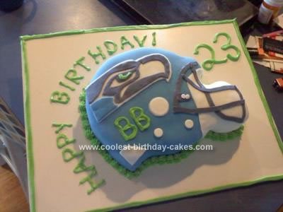 Homemade Seahawks Football Helmet Cake