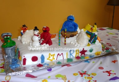Homemade Birthday Cakes on Homemade Sesame Street Birthday Cake