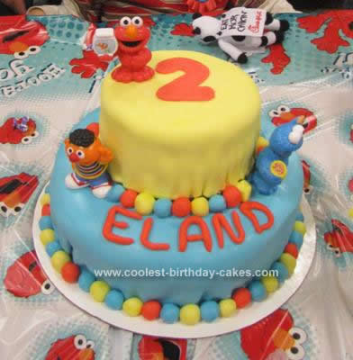 Homemade Sesame Street Birthday Cake