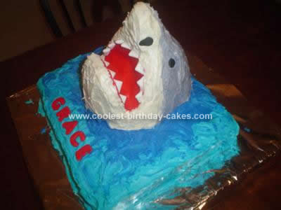 Homemade Shark Jumping Out of the Water Cake