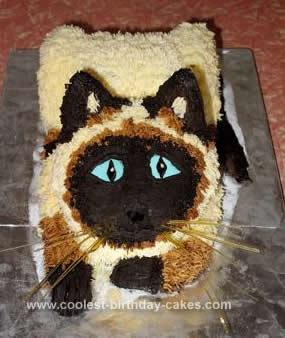Homemade Siamese Cat Birthday Cake