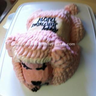 Homemade Sleepy Pink Poodle Gluten Free Cake