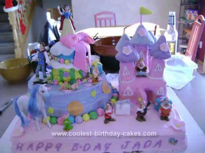 Homemade Snow White Castle Birthday Cake Design