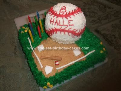 Homemade Softball Birthday Cake
