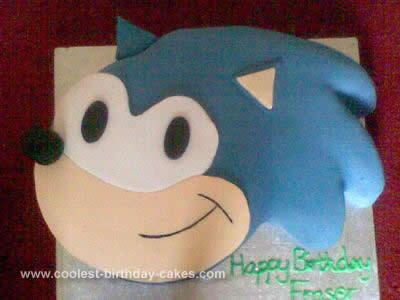 Homemade Sonic the Hedgehog Birthday Cake
