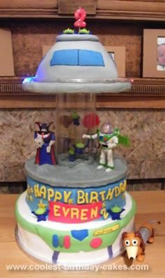Homemade  Spinning Toy Story Alien UFO Invasion Musical Carousel Birthday Cake