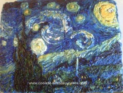 Homemade Starry Night Painting Cake