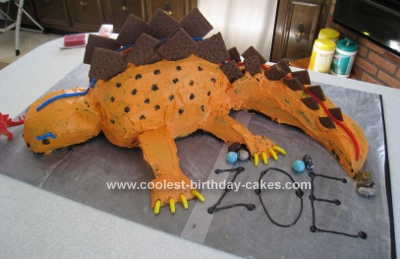Homemade Stegosaurus Birthday Cake