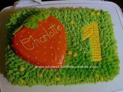 Homemade Strawberry Meadow Grass Birthday Cake