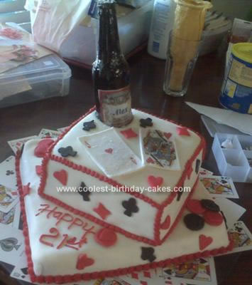Homemade Sugar Beer Bottle Black Jack 21st Birthday Cake