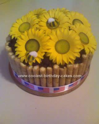 Homemade Sunflower Pot Cake