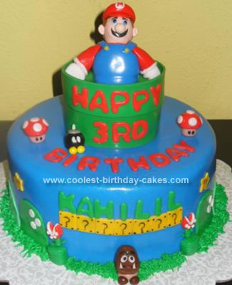Homemade Super Mario Birthday Cake