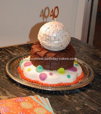 Homemade Superstar Mama's 40th Disco Ball Cake