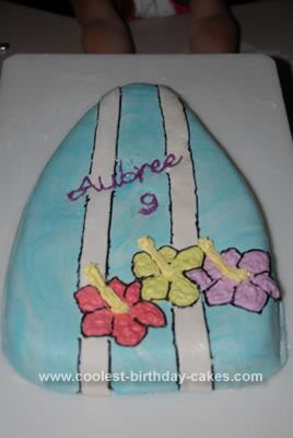 Homemade Surf Board Birthday Cake