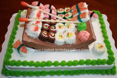 Homemade Sushi Cake With Sushi Platter