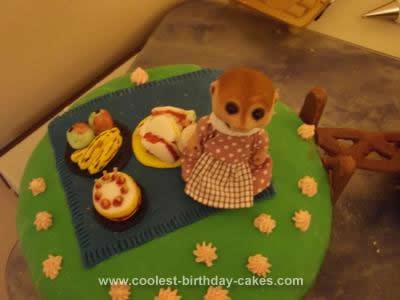 Homemade Sylvanian Birthday Islands Camping Cake