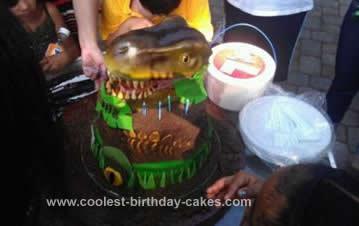 Homemade T Rex Fossil Cake