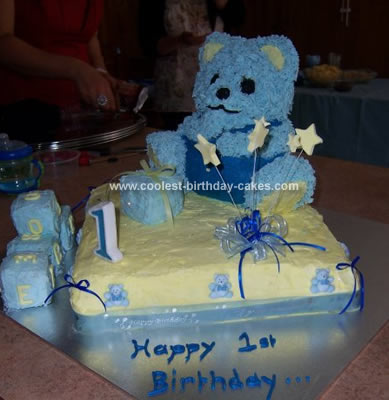 This Teddy Bear Birthday Cake was made by me for my son Kobe's 1st birthday