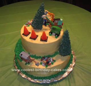 Homemade Thomas Construction Birthday Cake