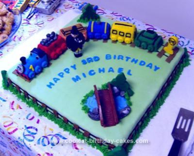 Homemade Thomas The Tank Engine Birthday Cake
