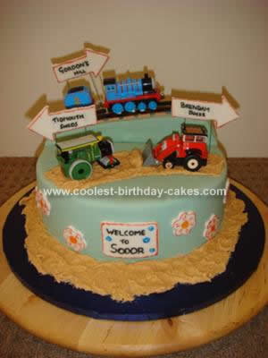 Homemade Thomas the Tank Engine Cake