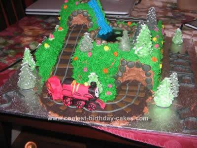 Homemade Thomas the Tank Engine 'James' Island of Sodor Cake