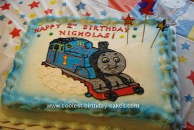 Homemade Thomas the Train Birthday Cake