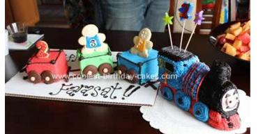 Homemade Thomas The Train Birthday Cake Design