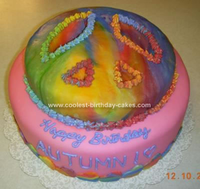 Homemade Tie Dyed Peace Sign Cake