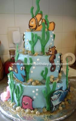 Homemade Tiered Finding Nemo Cake