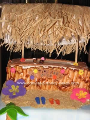 Homemade Tiki Bar Birthday Cake
