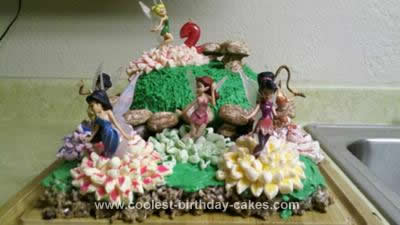 Homemade Tinkerbell and Fairies Birthday Cake
