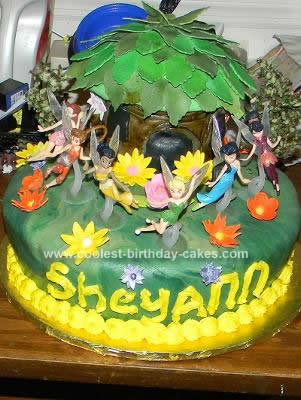 Homemade Tinkerbell and Friends Tree House Birthday Cake