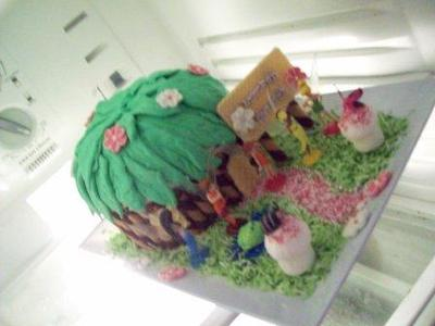 Homemade Tinkerbell Fairy House Birthday Cake