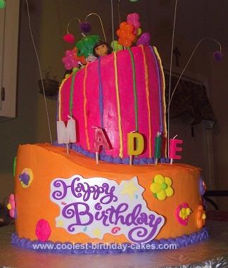 Homemade Topsy Turvy Dora Cake